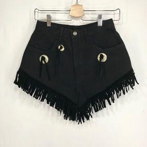 Vintage Western Fringe Silver Accent Jean Shorts